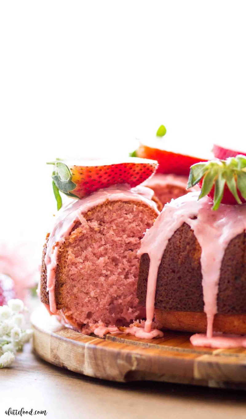 The best homemade strawberry bundt cake with fresh strawberries