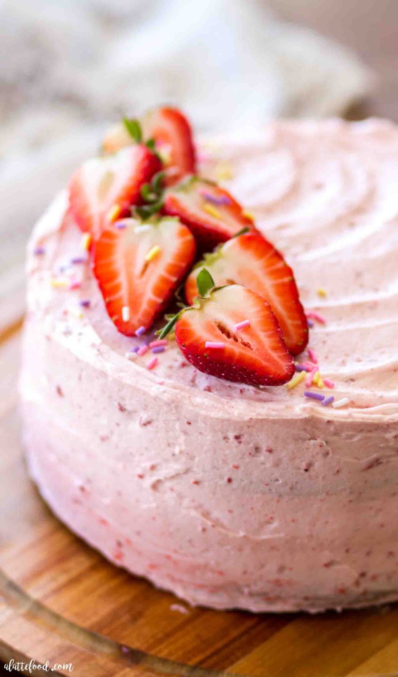 Homemade strawberry funfetti cake with strawberry frosting