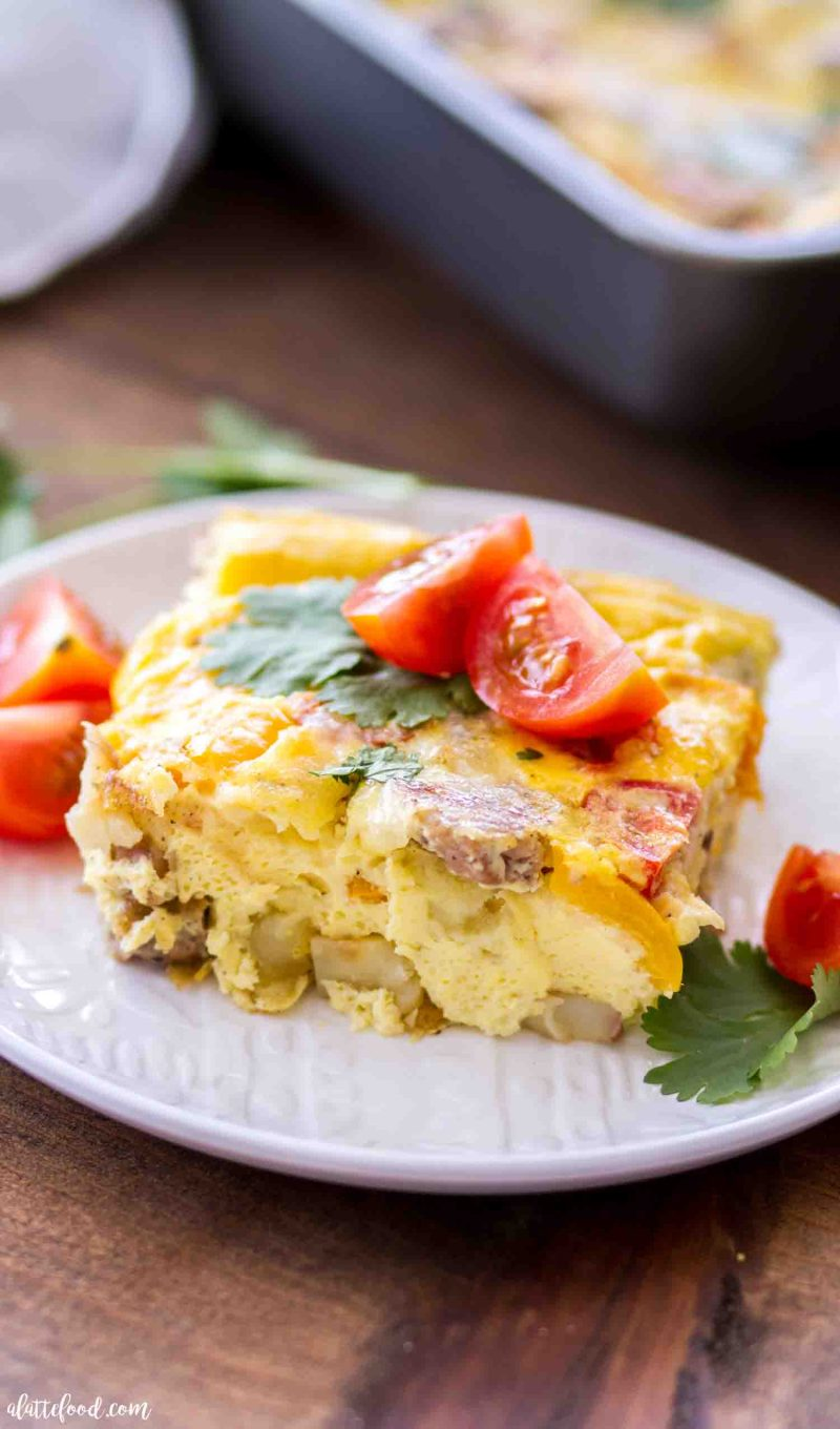 Slice of potato and sausage egg breakfast casserole