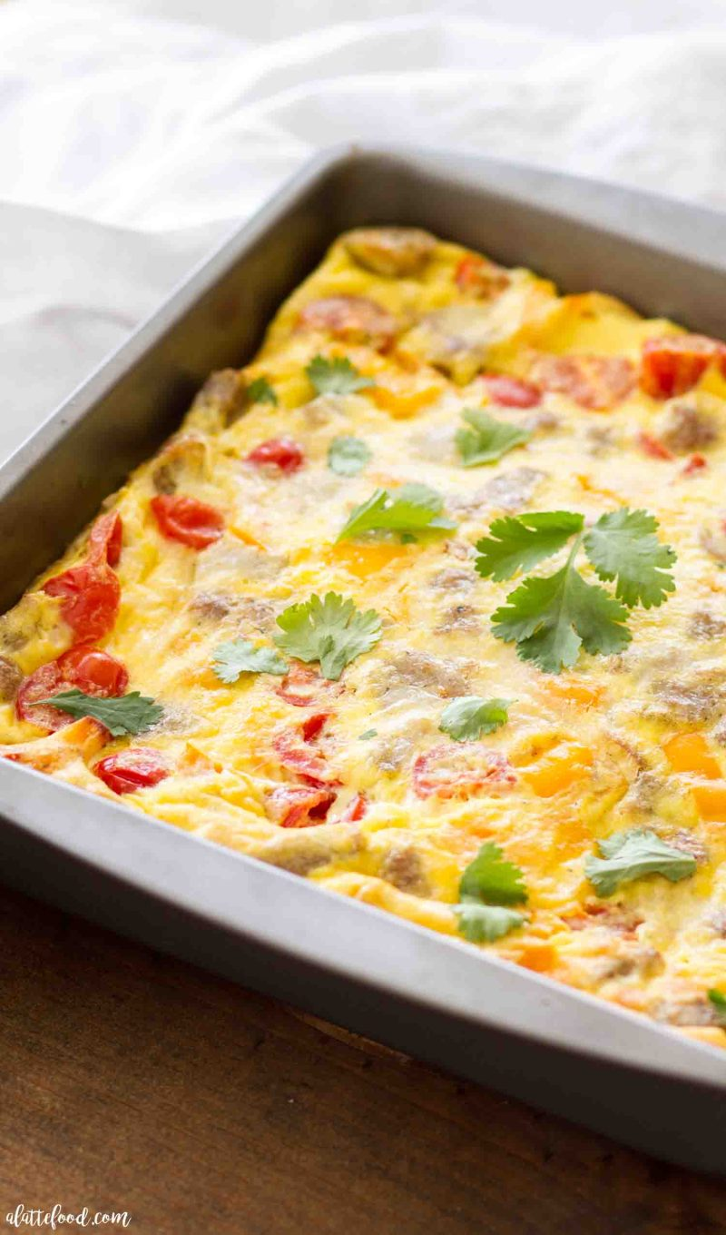 Easy Sausage and Potato Egg Casserole with southwestern flavors