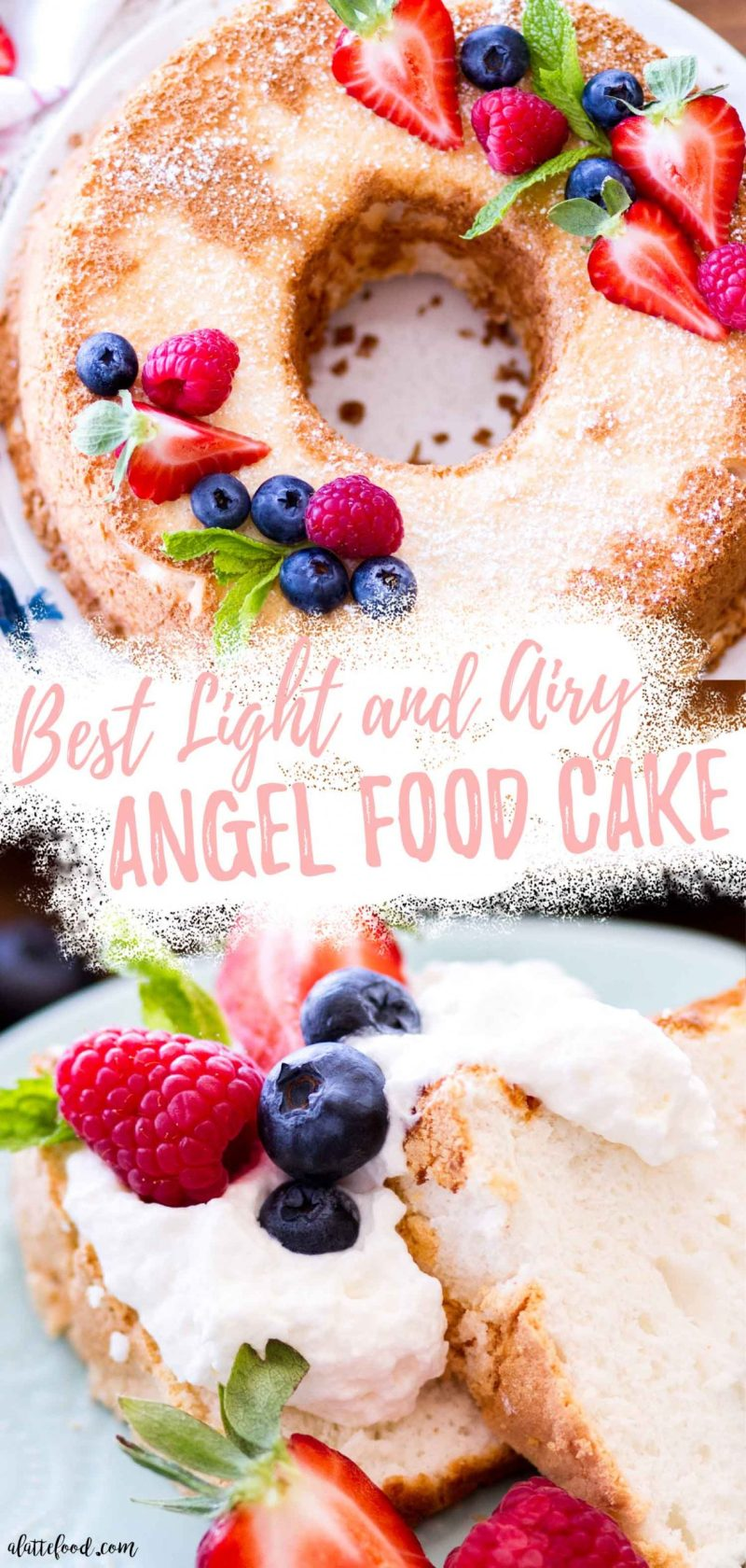 angel food cake recipe with powdered sugar, fresh berries, and whipped cream collage