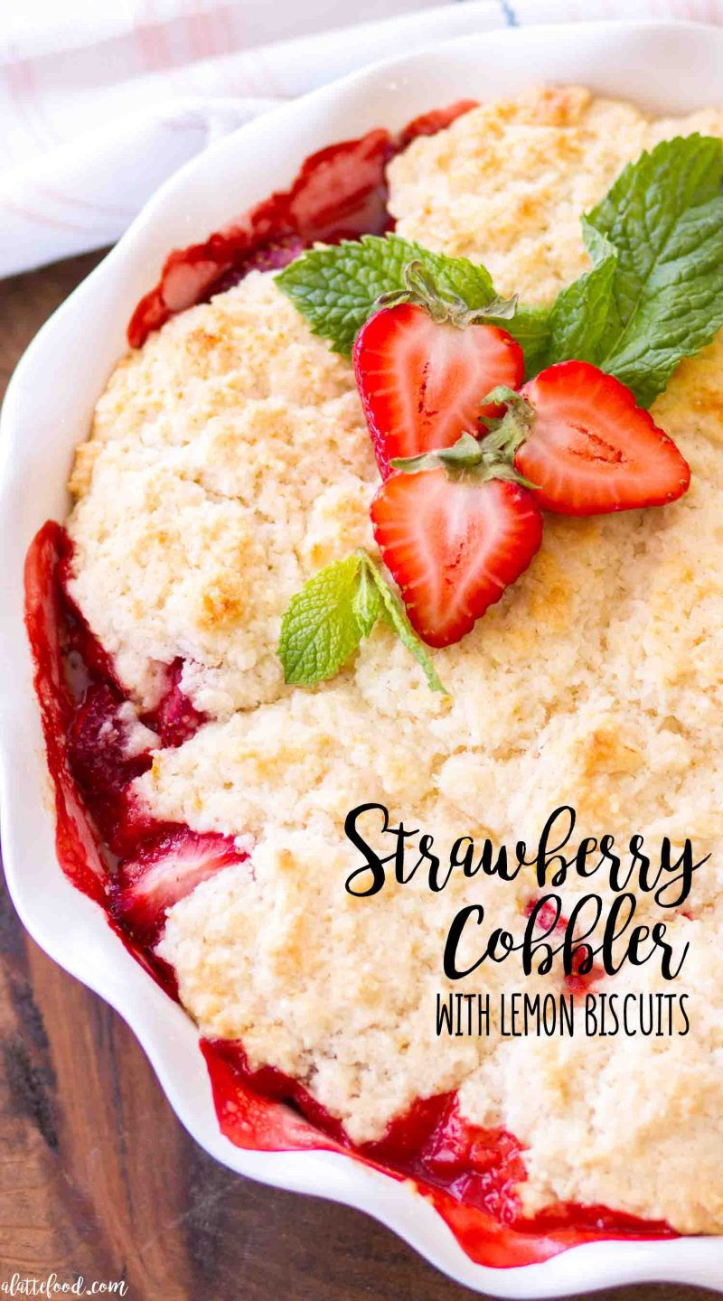 Easy homemade strawberry cobbler with a lemon biscuit topping (in a pie plate) (plus a video)