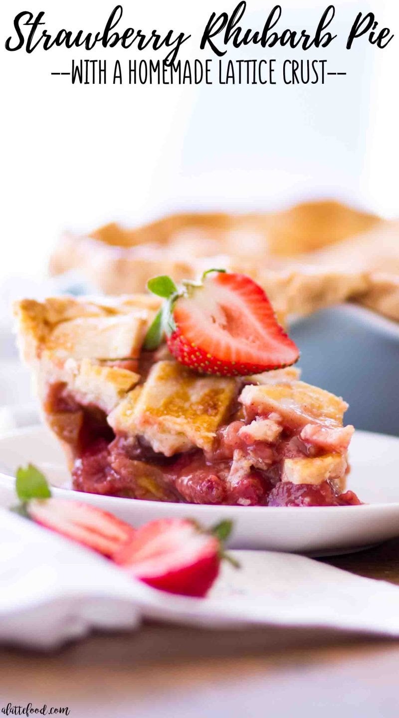 Old fashioned strawberry rhubarb pie with a lattice crust on a white plate