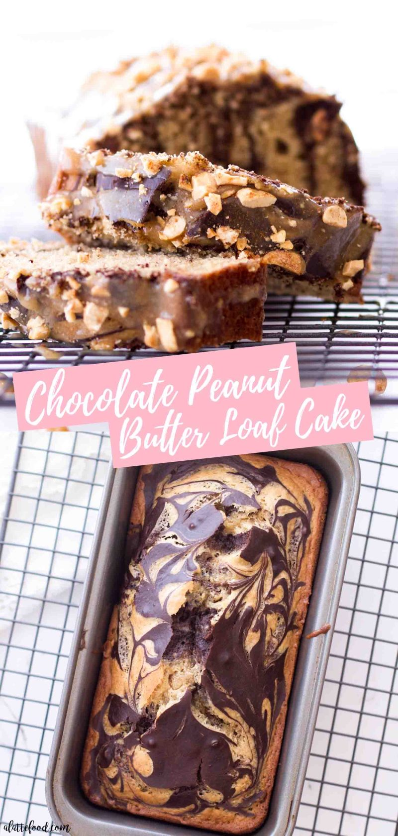 Marble Chocolate Peanut Butter Loaf Cake with a homemade peanut butter glaze