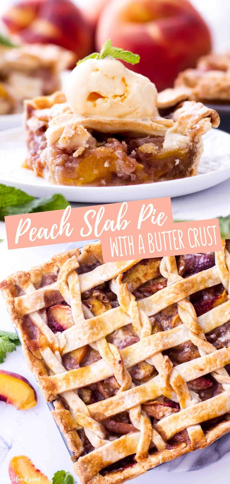 The best easy peach pie recipe is a peach slab pie made with a homemade butter crust.