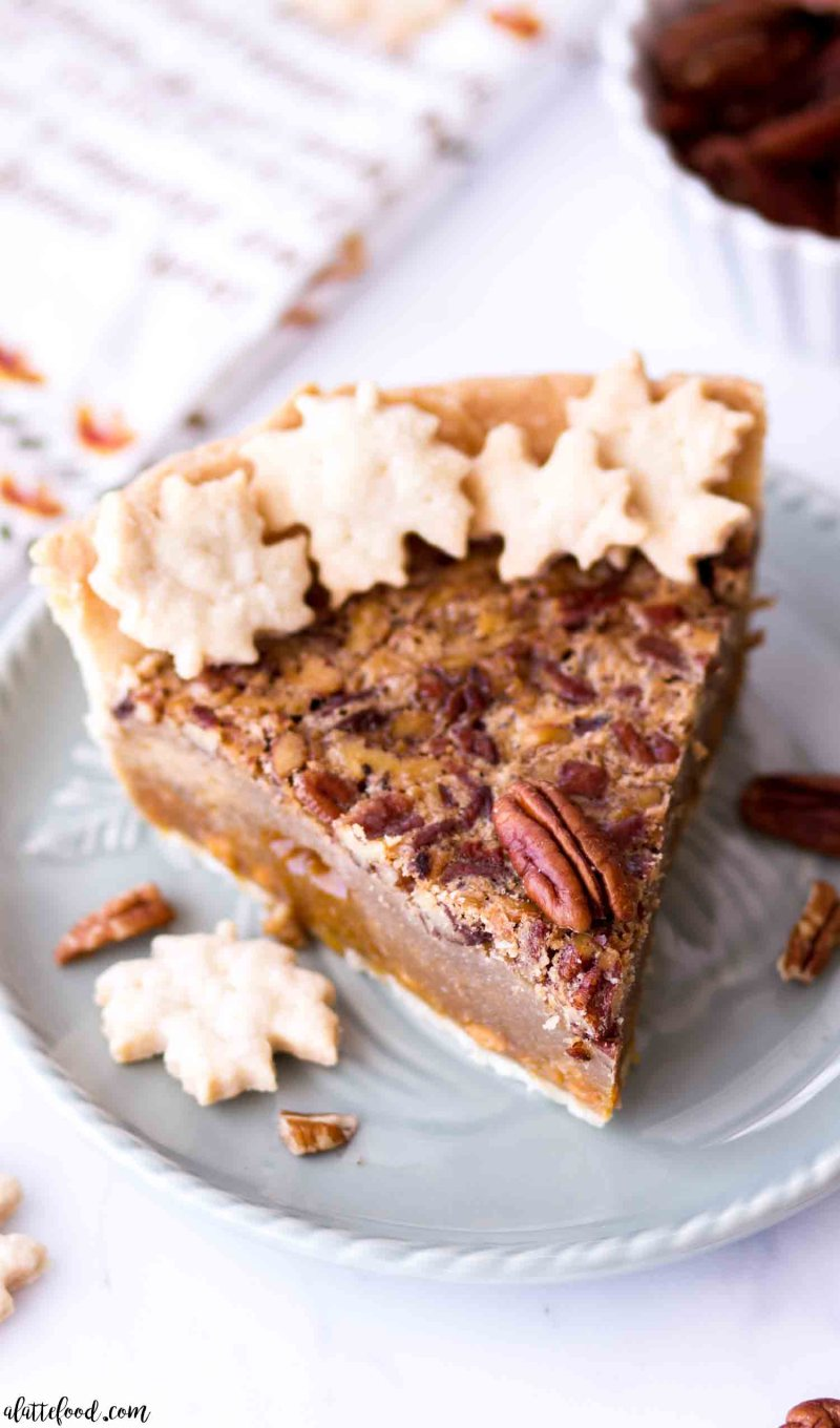 A slice of the best butterscotch pecan pie without corn syrup on a blue plate