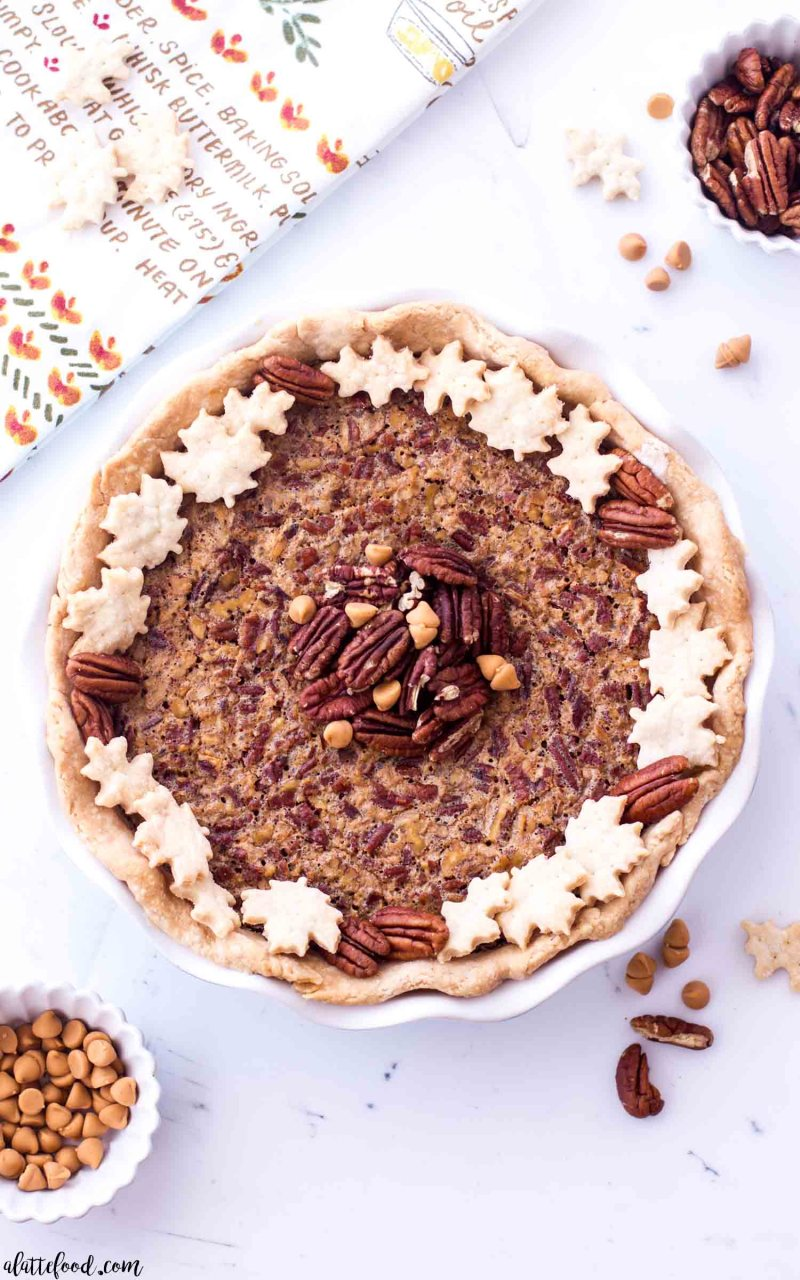 Easy butterscotch pecan pie with an all butter crust in a pie plate
