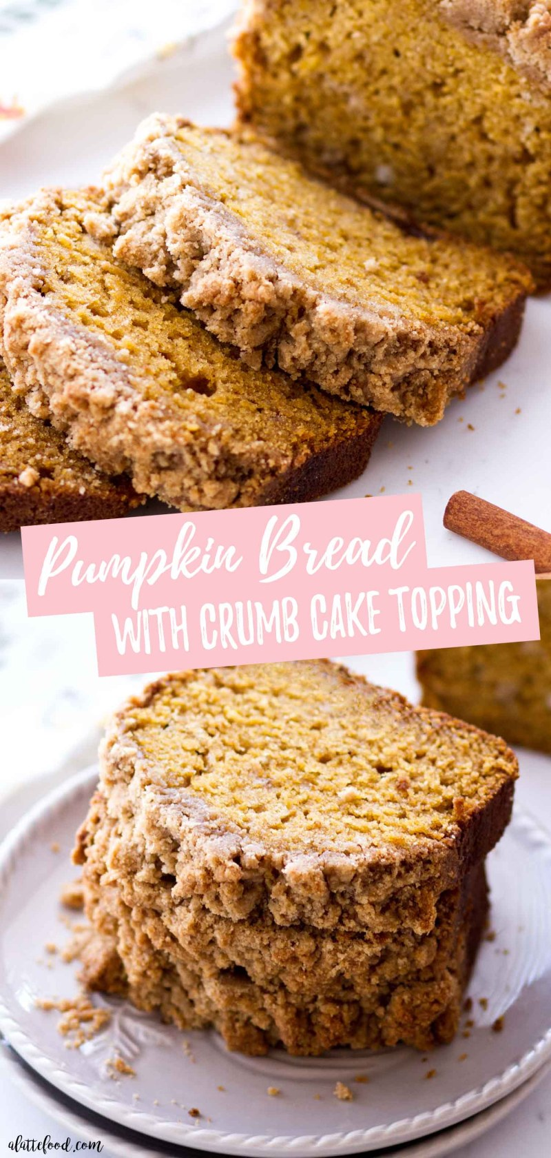 Classic Pumpkin Bread with crumb topping photo collage