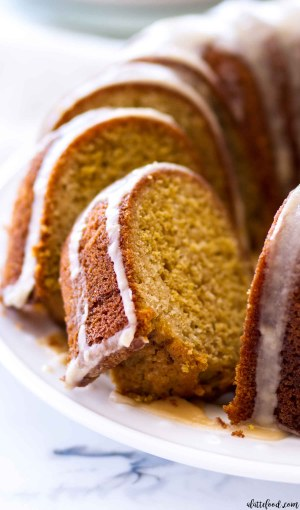 Vanilla Pumpkin Bundt Cake slices with maple icing