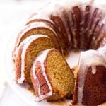 Marble Vanilla Pumpkin Bundt Cake with maple icing