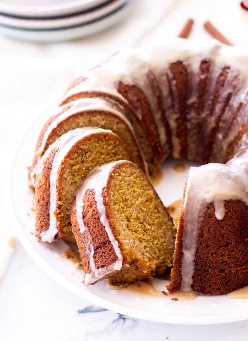 Marble Vanilla Pumpkin Bundt Cake with maple icing