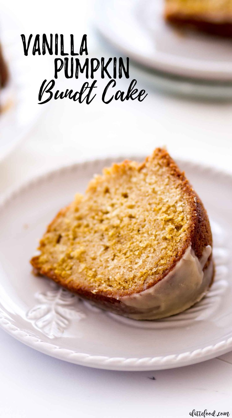 The best Vanilla Pumpkin Bundt Cake with maple icing on a grey plate