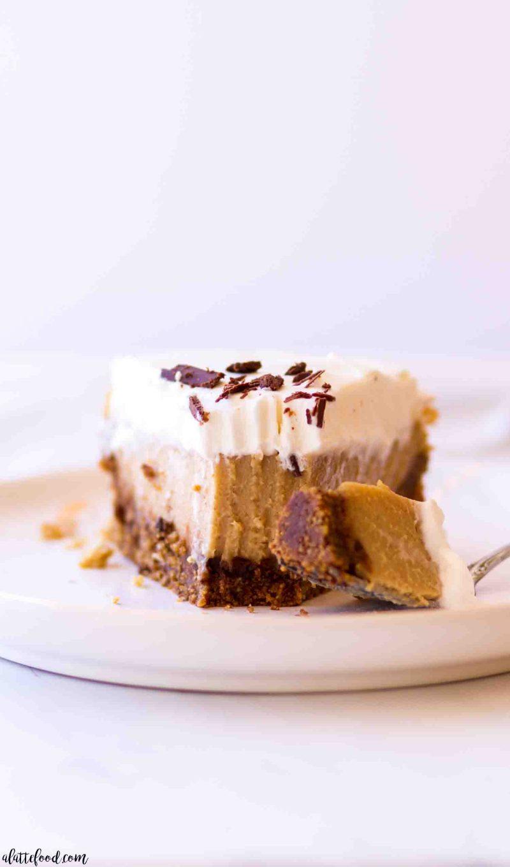 creamy peanut butter pie with a graham cracker crust