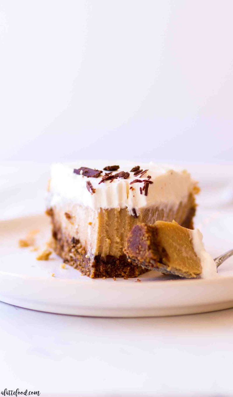 creamy peanut butter pie with a graham cracker crust