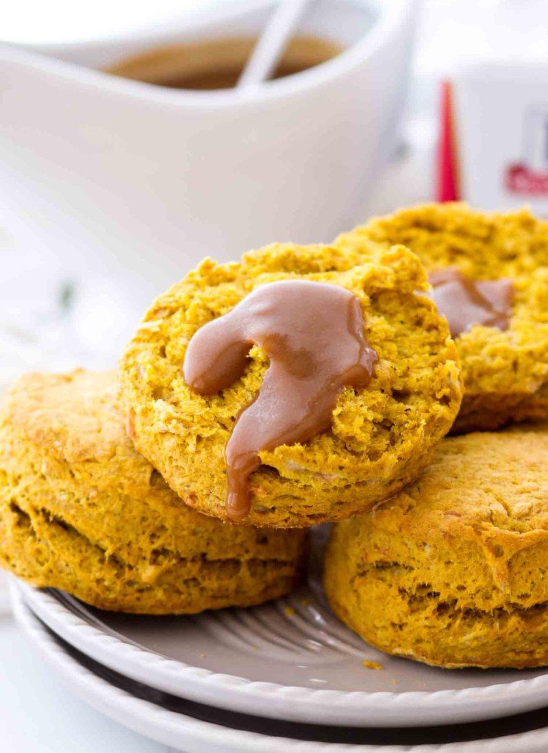 homemade pumpkin parmesan buttermilk biscuits open with gravy