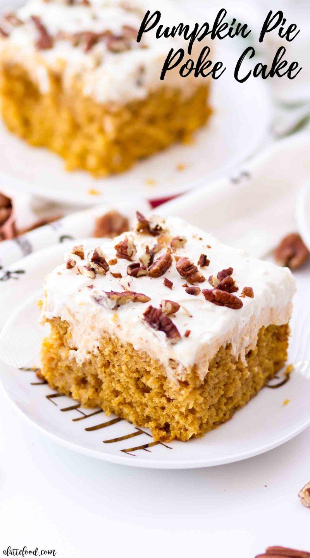 the best pumpkin poke cake slice with pumpkin cream filling