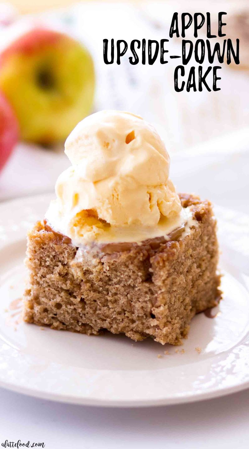 slice of apple upside down cake with ice cream