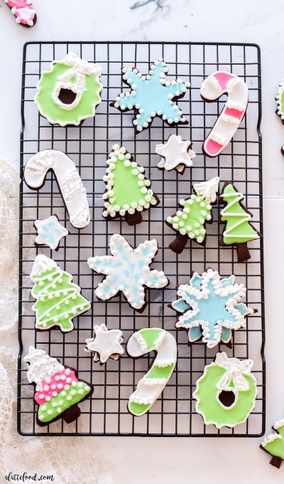 chocolate cutout sugar cookies on wire cooling tray