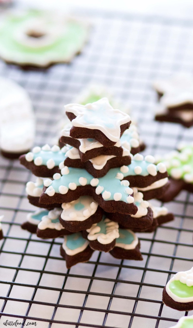 decorated chocolate sugar cookies stacked