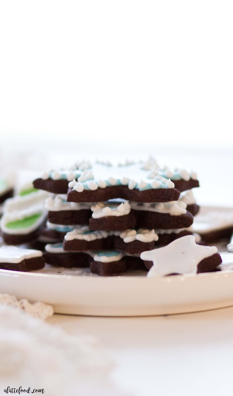 chocolate snowflake cookies stacked