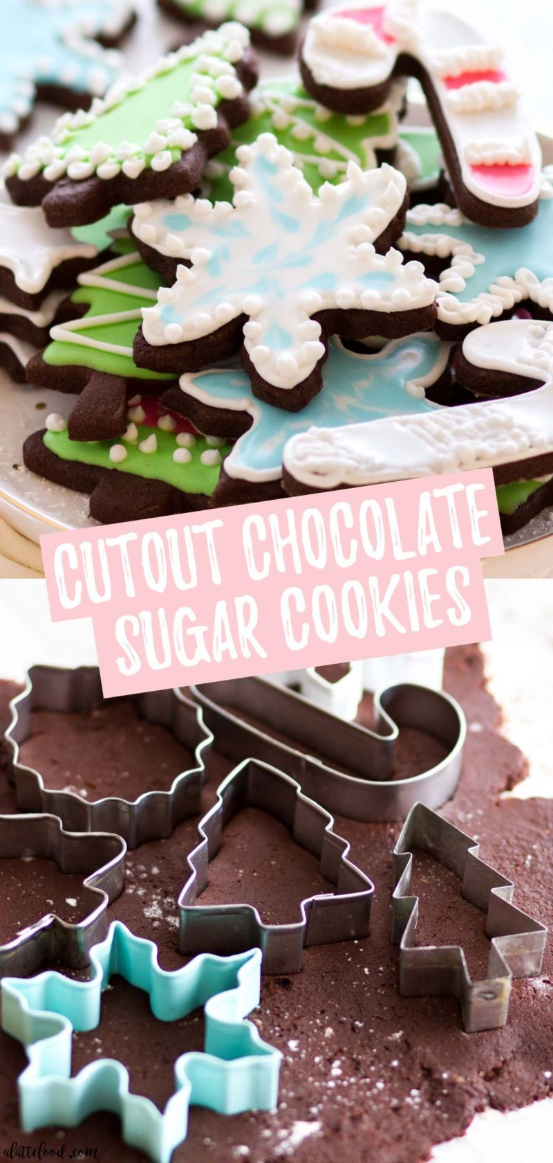 Cutout Chocolate Sugar Cookies with frosting collage