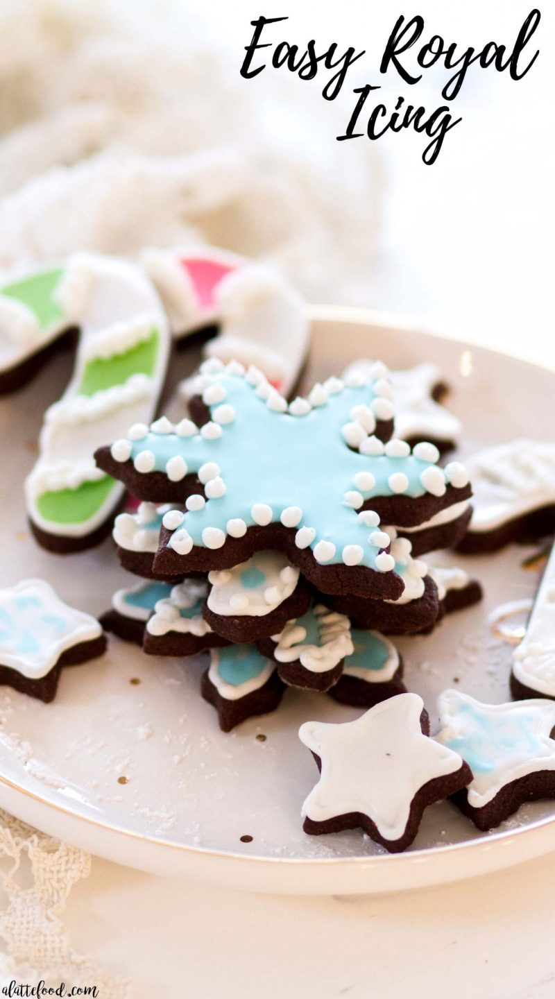 easy royal icing decorated chocolate sugar cookies