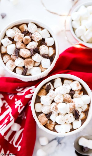 creamy hot chocolate recipe overhead shot with marshmallows and cocoa powder