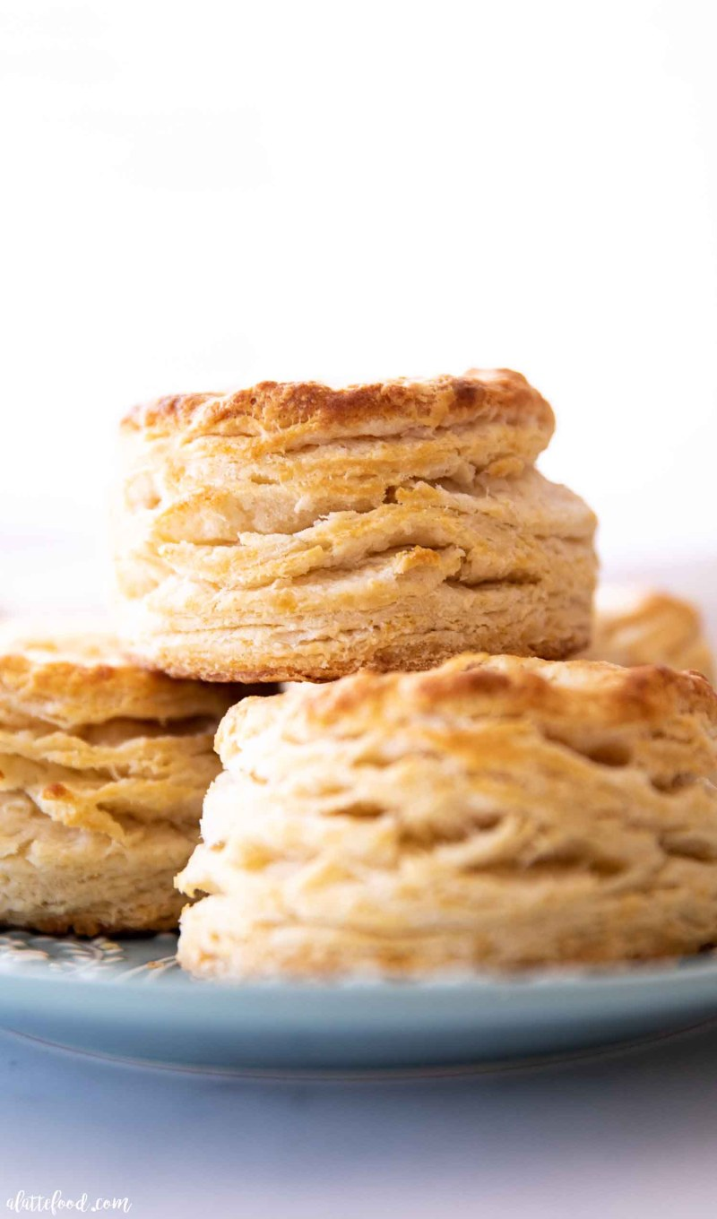stack of flaky homemade biscuits up close