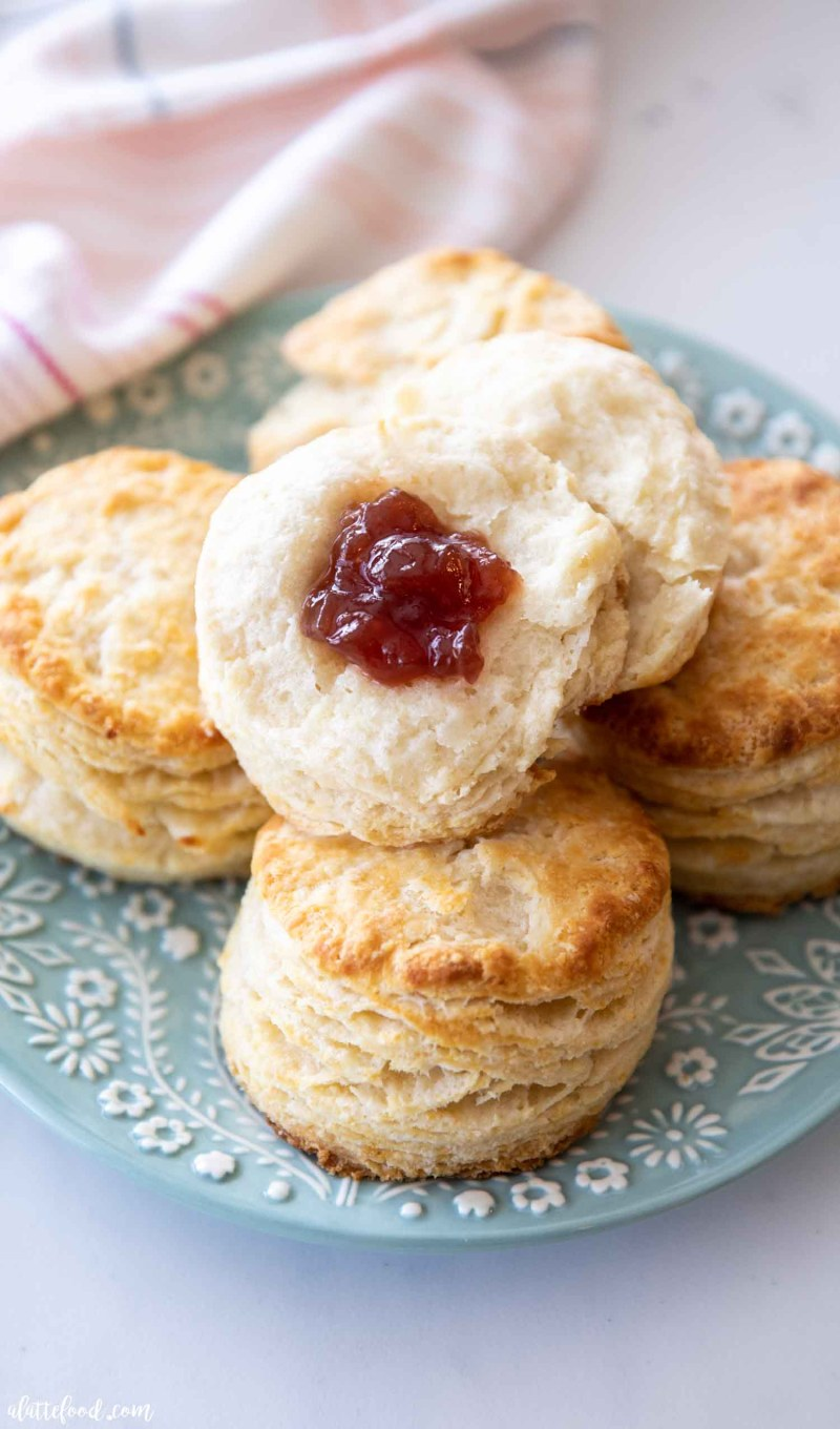 biscuits with jam on teal plate