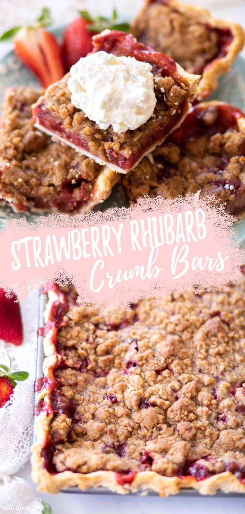 collage strawberry and rhubarb crumb bars (aka pie bars) with text
