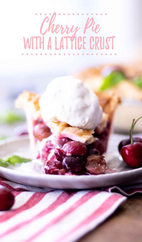 slice of cherry pie with ice cream
