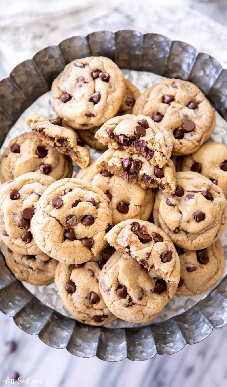 metal tray of freshly baked chocolate chip cookies