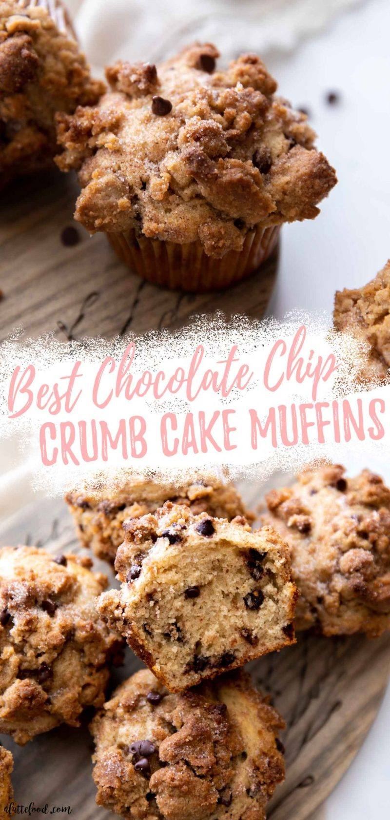 collage with text chocolate chip crumb cake muffins