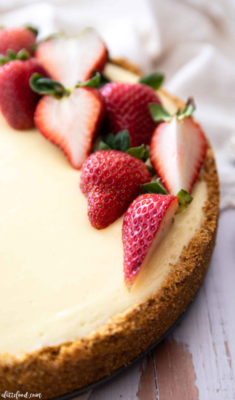 fresh strawberry cheesecake baked with a graham crust