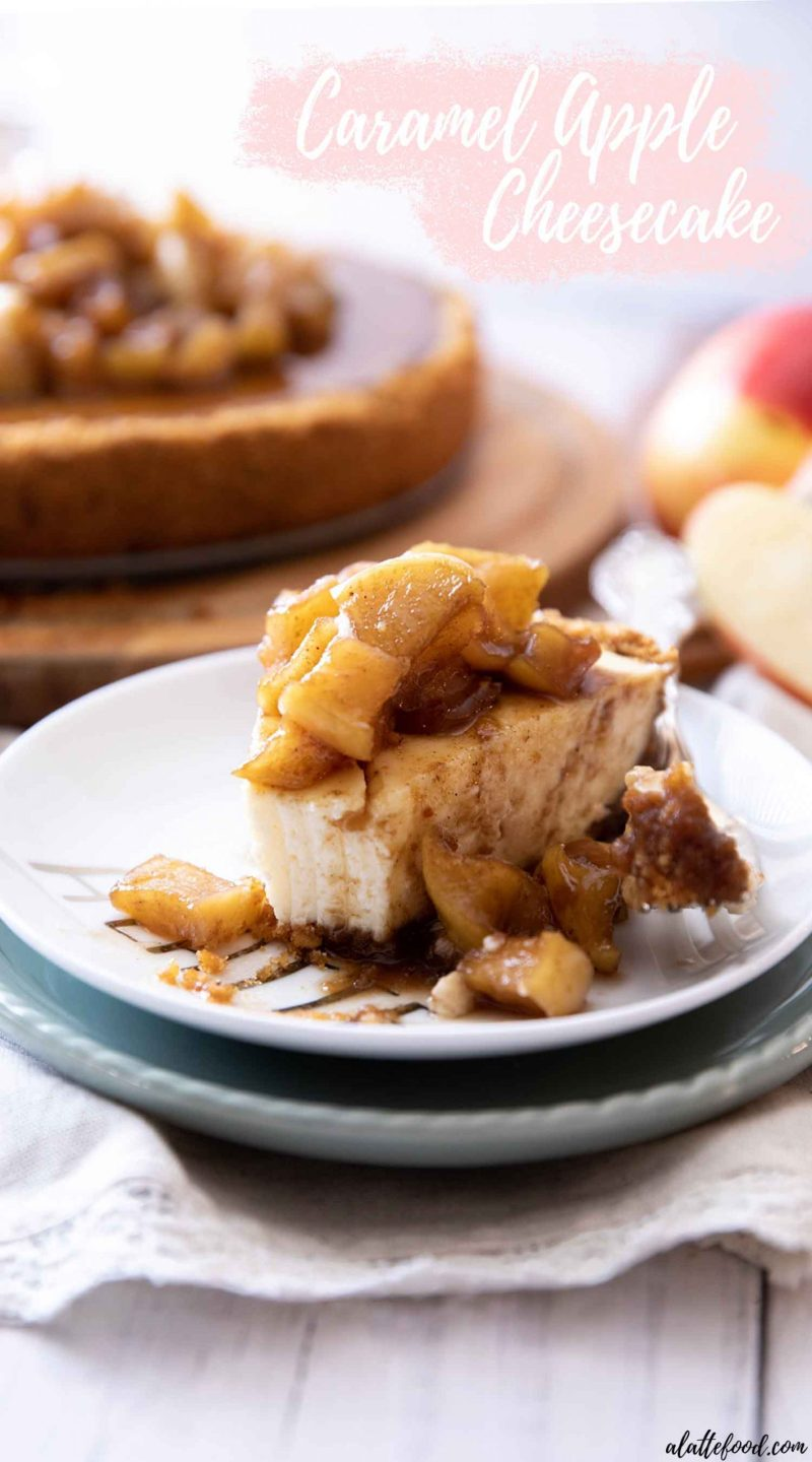 caramel apple cheesecake slice with a bite on a fork with text