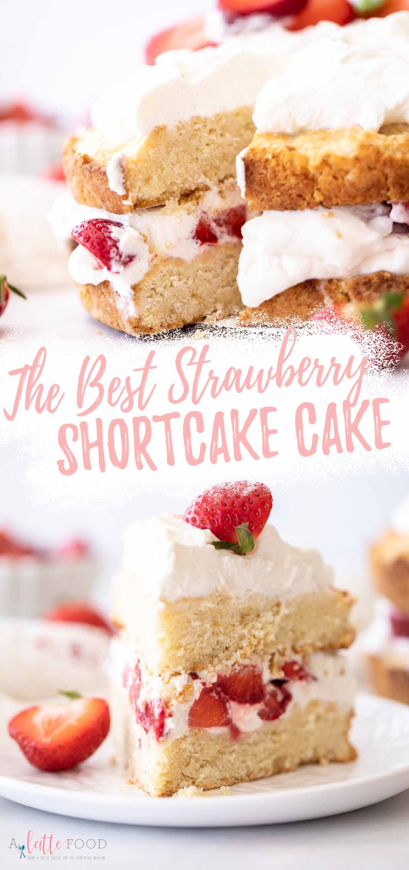 best strawberry shortcake cake slices on white plates