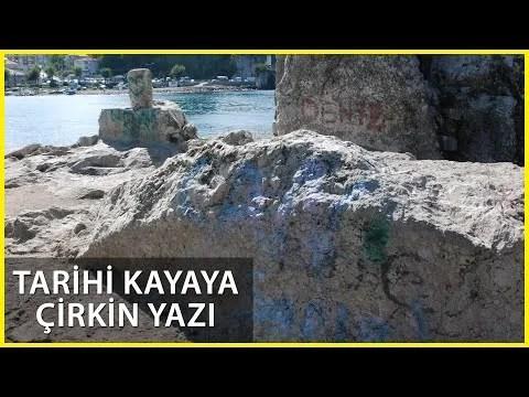 Tarihi 'Direkli Kaya'ya Boyayla Zarar Verdiler