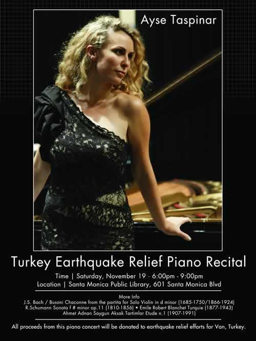 LATAA Ayşe Taşpınar Van Earthquake Relief Concert