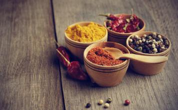 Spices in wood bowls