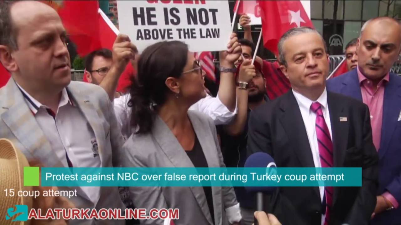 Protest against NBC over false report during Turkey coup attempt