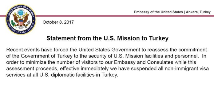 US suspends all non-immigrant visa operations in Turkey