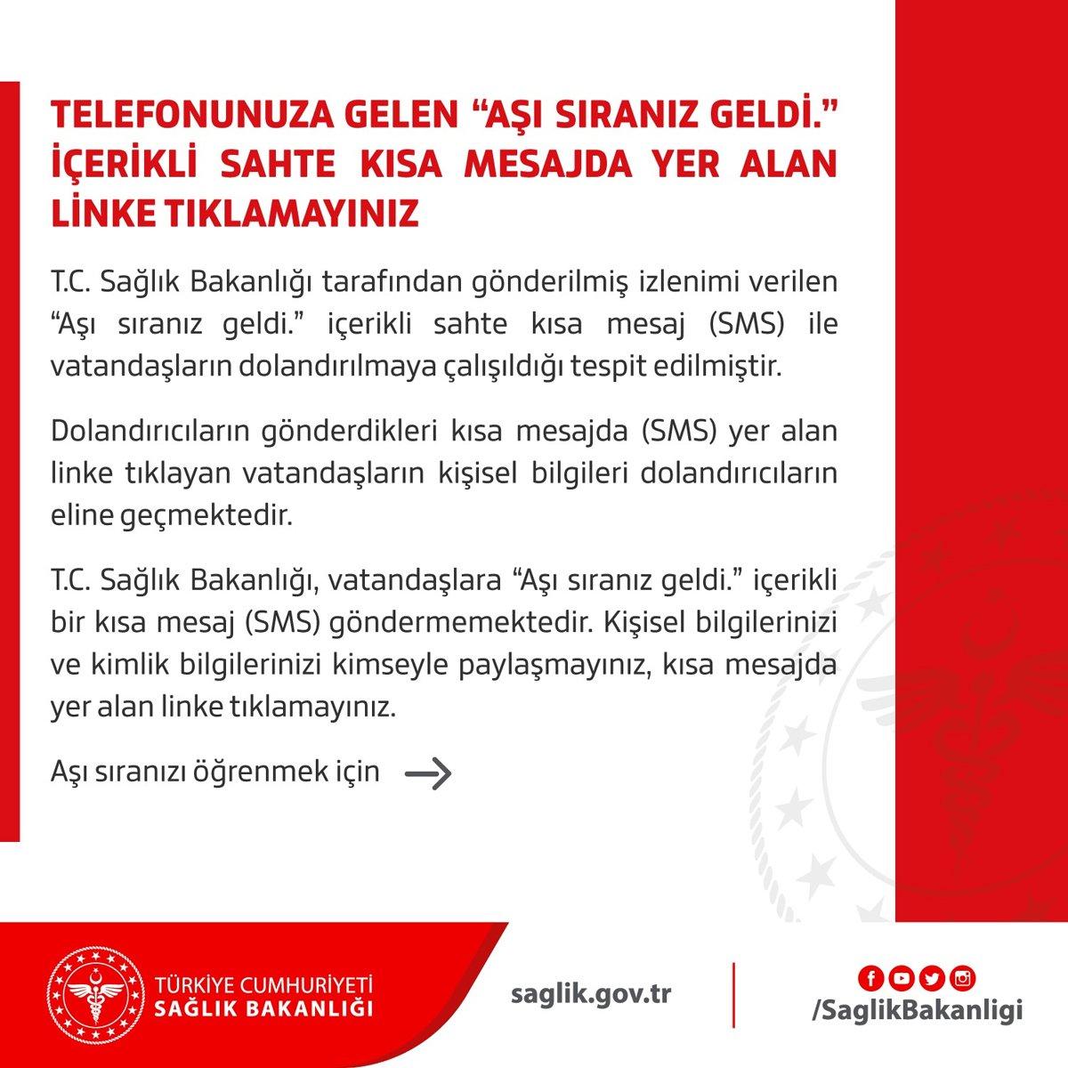 Sağlık Bakanlığı'ndan 'aşı sıranız geldi' mesajlarına karşı uyarı