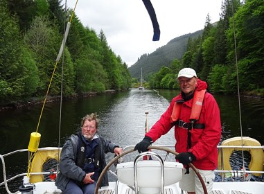 Eloise leading Sealord in Caledonian Canal