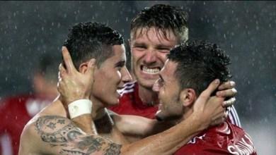 La gioia dei giocatori albanesi