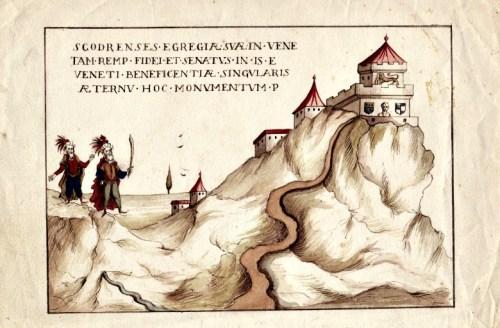 Maometto II all'assedio di Scutari – Copia ad acquerello del bassorilievo nella facciata della Scuola degli Albanesi a Venezia