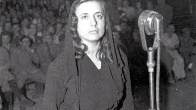Musine Kokalari durante il processo. Tirana, 1946