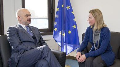Edi Rama E Federica Mogherini Unione Europoea Commissione Europea Albania Macedonia
