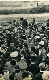 GM126: Italian Foreign Minister, Count Galeazzo Ciano (1903-1944), speaking to crowds in Durrës on 22 May 1940 (Photo: Giuseppe Massani, 1940).