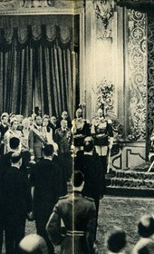 GM134: Italian King Victor Emmanuel III speaking in Rome at the ceremony during which he was made King of Albania on 16 April 1939 (Photo: Giuseppe Massani, 1940).