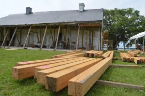 Reclaimed Beams in front of the La Pointe Krebs House